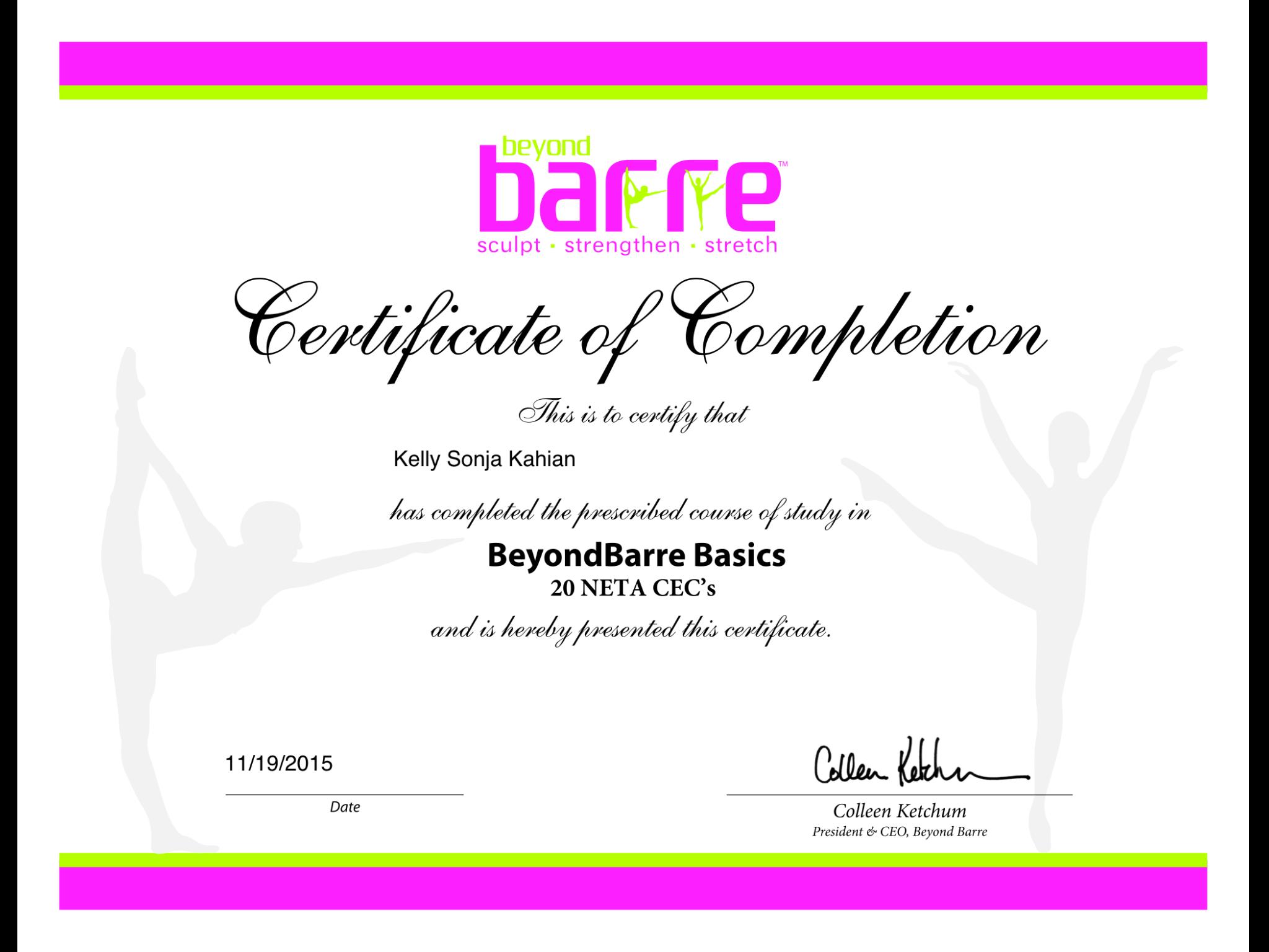 Barre certification   Kelly Kole Kahian